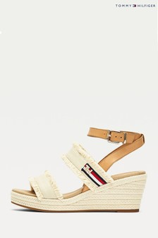 Tommy Hilfiger Cream Fringes Mid Wedges