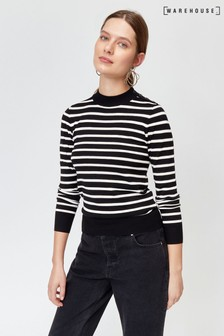 Warehouse Black Breton Stripe Button Jumper