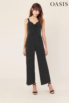 Oasis Black Spot Tie Front Jumpsuit