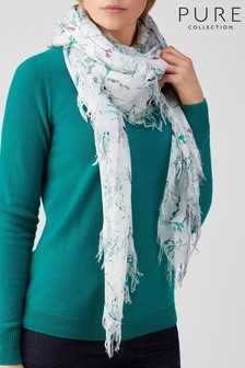 Pure Collection White Ultra Soft Printed Scarf