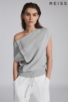 Reiss Grey Christa Knitted Drape Detail Top