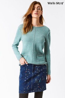 White Stuff Blue Birds And Bees Embroidered Denim Skirt
