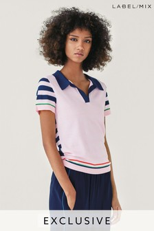 Mix/J.Won Stripe Knit Polo Top