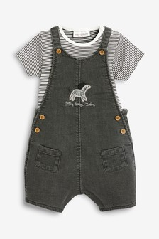 Jersey Denim Zebra Dungarees And Bodysuit Set (0mths-2yrs)