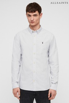 AllSaints White/Grey Easton Shirt
