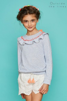 Outside The Lines Blue Marl Frill And Pom Pom Sweat