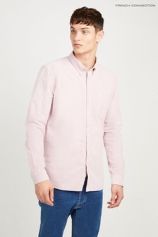 French Connection Pink Brushed Oxford Slim Shirt