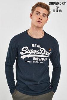 Superdry Navy Vintage Long Sleeve Tee