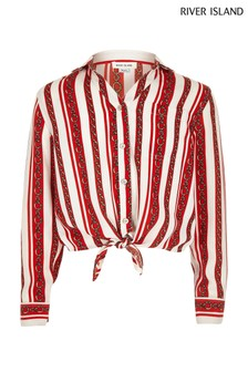River Island Red Stripe And Chain Print Tie Shirt