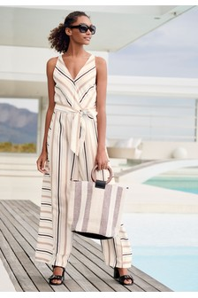 Linen Mix Stripe Jumpsuit