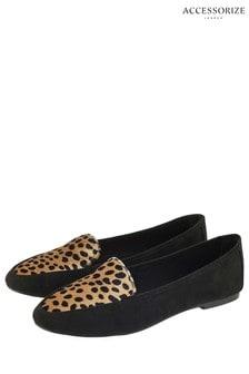 Accessorize Leopard Print Velvet Slipper Shoe