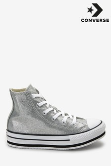 Converse Youth Glitter Platform High Trainers