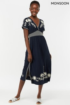 Monsoon Ladies Blue Ester Floral Embroidered Midi Dress