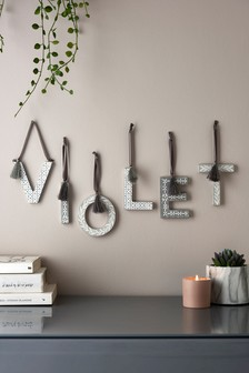 Grey Geo Alphabet Hanging Decoration