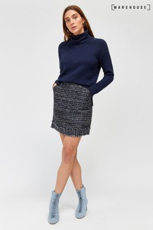 Warehouse Blue/Navy Tweed Fringe Mini Skirt