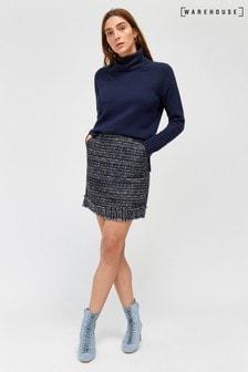 Warehouse - Blauwe/marineblauwe tweed minirok met franje