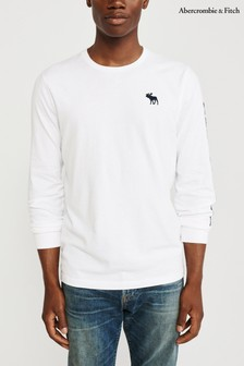 Abercrombie & Fitch White Long Sleeve Logo T-Shirt