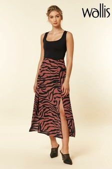 Wallis Rust Zebra Wrap Skirt