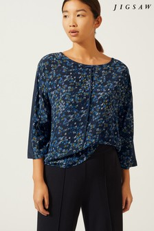 Jigsaw Blue Ikat Floral Silk Front Batwing Blouse