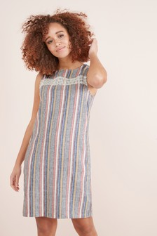 Linen Blend Shift Dress