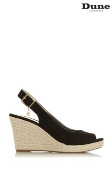 Dune Ladies Black Wide Fit Unlined Slingback Espadrille Shoe