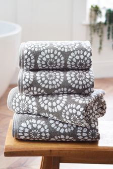 Grey Geo Egyptian Cotton Towels