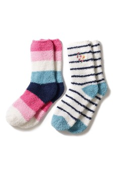 Colour Pop Stripe Embroidered Bed Socks Two Pack