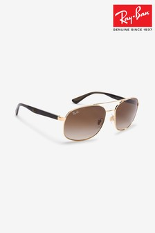 Ray-Ban® Gold Rectangle Aviator Sunglasses