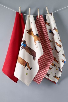 Set of 4 Sausage Dog Tea Towels