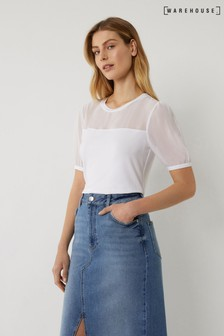 Warehouse White Woven Mix puff Sleeve Top