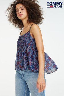 Tommy Jeans Floral Festival Pleated Strappy Top