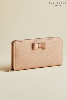 Ted Baker Tan Rouxi Bow Zip Around Matinee Purse