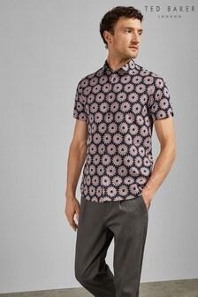 Ted Baker Navy Short Sleeve Floral Shirt