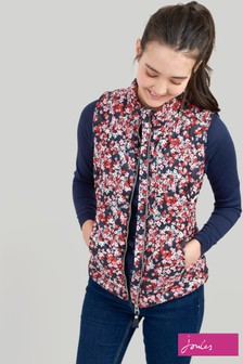 Joules Blue Brindley Print Chevron Quilted Gilet