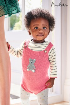 Boden Pink Cosy Knitted Romper Set