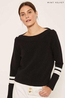 Mint Velvet Black Contrast Stripe Ottoman Knit