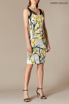 Karen Millen White Trailing Oriental Print Signature Stretch Dress