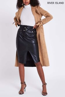 River Island Black Midi Faux Leather Skirt