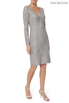 Gina Bacconi Grey Janella Sequin Lace Dress