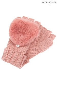 Accessorize Pink Faux Fur Capped Glove