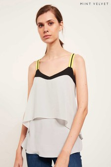 Mint Velvet Grey Dipped Hem Cami