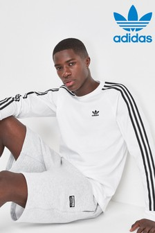 adidas Originals White 3 Stripe Long Sleeved Tee