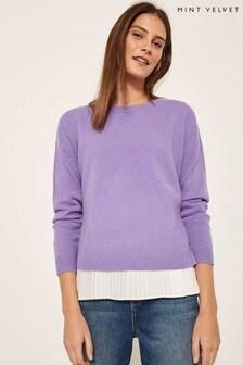 Mint Velvet Purple Pleated Woven Layered Knit