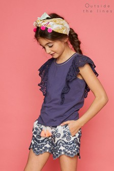 Outside The Lines Blue Broidery Frill Tee