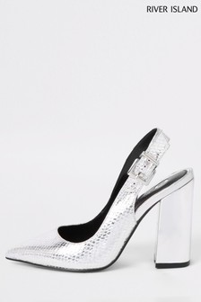 River Island Silver Slingback Block Heel Court