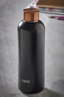 Black And Copper Effect Metal Water Bottle