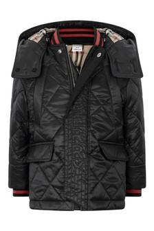 Boys Black Quilted Logo Jacket