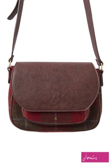 Joules Red Check Tweed Saddle Bag