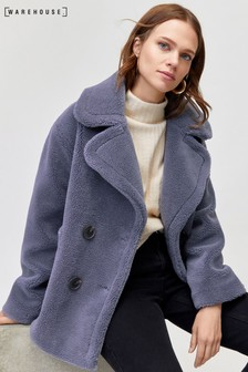 Warehouse Blue Short Faux Fur Coat