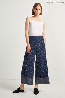 French Connection Dark Blue Printed Culotte